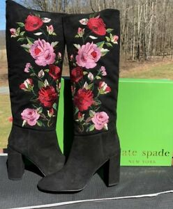 NIB Women's kate spade Greenfield Tall Floral Boots, Black Suede, S945912, 9.5M