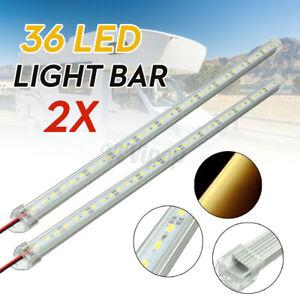 2pcs 50cm LED 5630 SMD Interior Strip Light Bar Car Caravan Cabinet Warm White