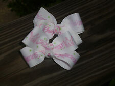 """Two Med 2"""" Pink and White Princess grosgrain ribbon on single prong clip Bow USA"""