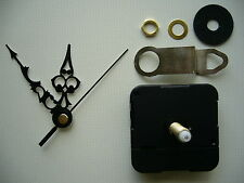 CLOCK MECHANISM QUARTZ EXTRA LONG  SPINDLE. 66mm BLACK ORNATE HANDS