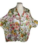 Zara Floral 3/4 Dolman Sleeve Top Button Up Shirt Blouse Lagenlook Size Small
