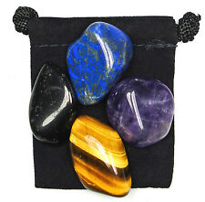 PSYCHIC ATTACK BLOCKER Tumbled Crystal Healing Set = 4 Stones + Pouch + Card