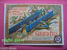 1 ANCIENNE ETIQUETTE PARFUM A L'IRIS BLANC/ANTIQUE PERFUME LABEL FRENCH PARIS