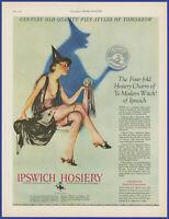 Vintage 1927 IPSWICH Women's Hosiery Stockings Witch Halloween 20's Print Ad
