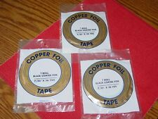 """3 sealed pk Edco 7/32"""" x 36 yds Black Back Copper Foil Tape Stained Glass"""