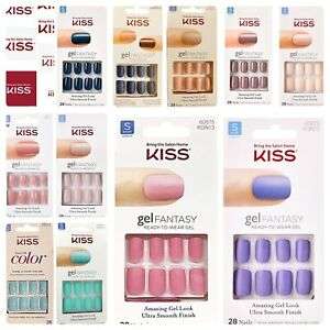 Kiss Gel Fantasy Short Length Nails Choose from Matte or Shiny New & Authentic