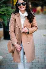 Topshop Camel Statement Double Breasted Slim Fit Pea Winter Jacket Coat 4 to 16