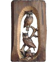 Skulptur Relief Eulen CM 25 Geschnitzt IN Holz Der IN Gröden