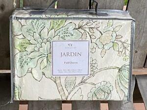 "JARDIN Floral Print Linen Duvet Set - 3-pc FULL/QUEEN Size Set  92"" x 96"""