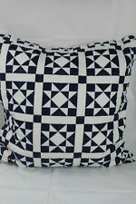 "Calvin Klein Home Abigail Quilted  22"" Square Decorative Pillow White/Navy $90"