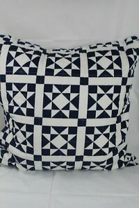 """Calvin Klein Home Abigail Quilted  22"""" Square Decorative Pillow White/Navy $90"""