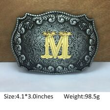 Mens Western Cowboy Texas Rodeo Initial M Heavy Steel Belt Buckle Gift