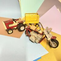 Vintage Tonka Tractor, Trailer And Chopper 1970s Models Playworn Condition