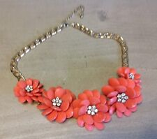"Coral Salmon Color Multi Flower Rhinestone Center Gold Tone Necklace 16""-19"""