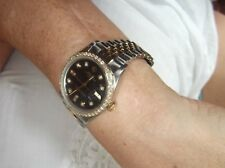 R0LEX MID-SIZE TWO TONE 18K & STAINLESS UNISEX VS1 ALL DIAMONDS BOX PAPERS MINT.