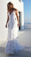 Women V-neck Halter Evening Cocktail Dress Ball Gown Wedding Lace Party Mermaid