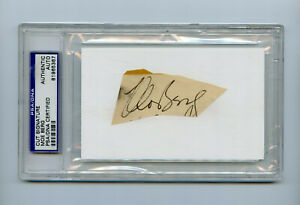 Moe Berg Signed PSA/DNA COA Cut Signature Index Card Auto Autographed WWII Spy