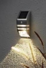 LED Solar Wandleuchte Bewegungsmelder 50 Lumen Dämmerungssensor Edelstahl
