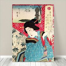 "Vintage Japanese Geisha Art ~ CANVAS PRINT 32x24"" ~ Ukiyo-e Kunichika #118"