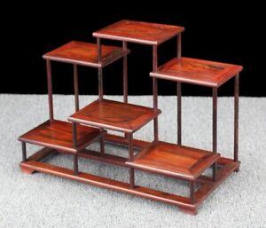 Rosewood Display Rack Art Craft Stand Bonsai Stone Vase Plant Pot Base Decor