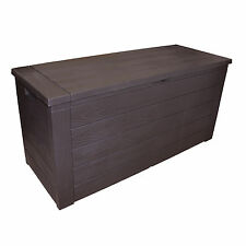 Storage Box Outdoor Garden Patio Plastic Chest Lid Container Wooden Effect 300L