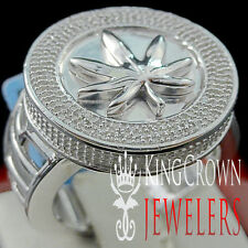 Genuine Diamond Mens Weed Marijuana Leaf Plant Ring Band 10K White Gold Finish