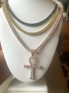 4mm Solitaire Tennis necklace Yellow,Black & Rose Gold with ankh cross set of 3