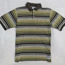 Vintage Stussy Striped Polo Shirt T-Shirt Size Large