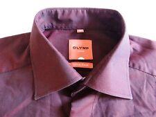 Olymp Slim Line Herren Hemd Langarm Bordeaux Unifarben KW40