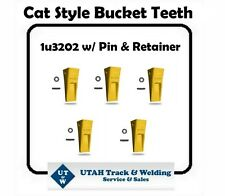 Set of (5) Caterpillar style 1U3202 Bucket Tooth J200 W/ Pin and Retainer