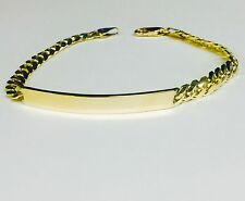 "14KT Solid Yellow Gold ID Miami Cuban Curb Solid Link 8.5"" 5mm 15 grams BRACELET"