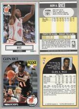 GLEN RICE Rookie Card Lot of 4 - 1990-91 Fleer #101 x2 & Hoops #168 x2 - Heat