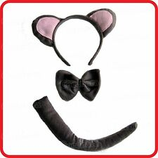 MOUSE RAT HEADBAND HAIRBAND WITH EARS+BOW TIE+TAIL- 3PC DRESS UP SET-COSTUME