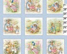 "Beatrix Potter Fabric Peter Rabbit Benjamin Bunny 4"" Quilt blocks - Baby Blue"