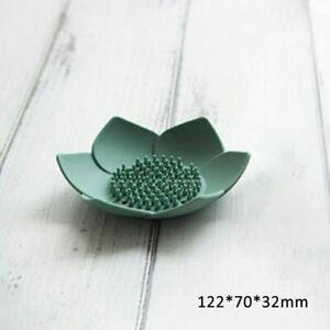 Bathroom Soap Box Lotus Shape Non-slip Silicone Water Draining Soap Dish Holder