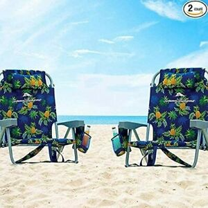 2 Tommy Bahama Backpack Beach Folding Deck Chair Pineapple - NEW COLLECTION 2021