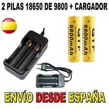 CARGADOR Y 2 PILAS BATERIAS 18650 9800MAH 9800 RECARGABLES ION LITIO LED CIGARRO