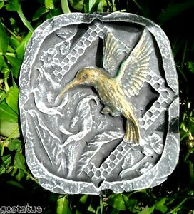 "Hummingbird plaque mold small stepping stone plastic mould 8"" x 7"" x 1"""