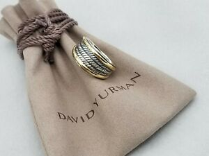 David Yurman Women's Two-Tone Cable Band Ring Silver and 18k Gold Size 8