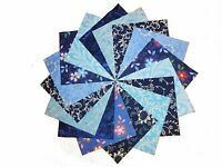 """50 4"""" Quilting Fabric Squares Shades of Blue/ Beautiful BUY IT NOW !!"""