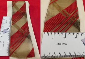 Art Deco Gold Lame Woven Mesh Orange Silk Stripe Ribbon Yardage Dress Trim Vtg