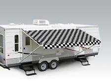 "21' Checkered Flag w/Wht W/G, RV Patio Awning Repl. fabric canopy (Fabric:20'2"")"