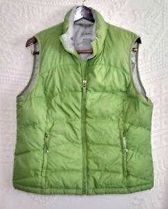 L.L. Bean Womens Large Nylon Goose Down Puffer Vest Green OFJT1 Full Zip Pockets