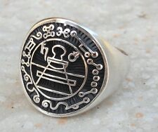 Solid Sterling Silver 925 Heavy 3D Secret Seal Of King Solomon Ring