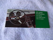 1969 Alfa Romeo1750 Spider GT Berlina brochure Pamphlet excellent NOS