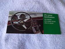 1969 Alfa Romeo1750 Spider GT Berlina brochure Pamphlet excellent NOS