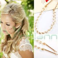 Acconciatura capelli catena perla perle accessorio tiara fermacapelli donna