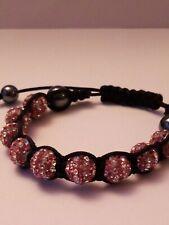 Pink/White Striped Shamballa Crystal Bead Macrame knotted Adjustable Bracelet