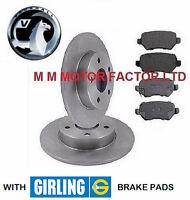 Vauxhall Zafira Mk2 2005 on | 1.6, 1.7 & 1.9 CDTi Rear Brake Discs &Girling Pads