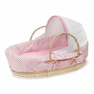 Badger Basket Baby Fabric Hooded Moses Basket - Pink